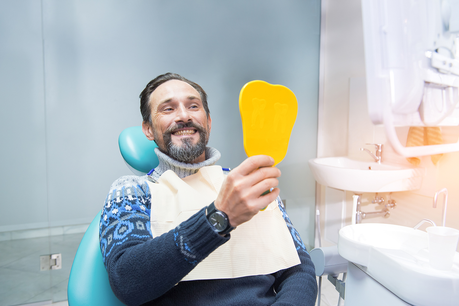Man with dental implants